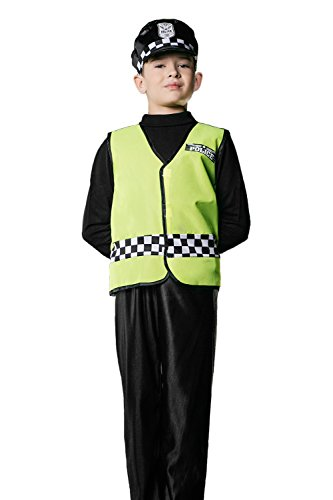 Kids Boys British Policeman Halloween Costume Cop Bobby Dress Up & Role Play (6-8 years, green, black, white)