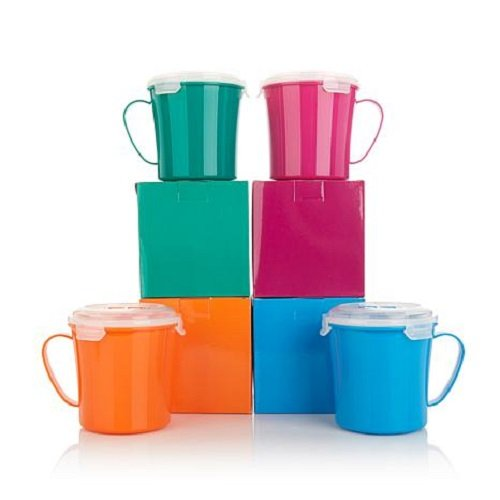Bell & Howell Set of 4 Microwave Mugs with Vented Lids - Assorted Colors -Spill-Resistant and Kid friendly - Great for Re-Heating - (4 Pack) (Regular) (Kids Mug Soup)