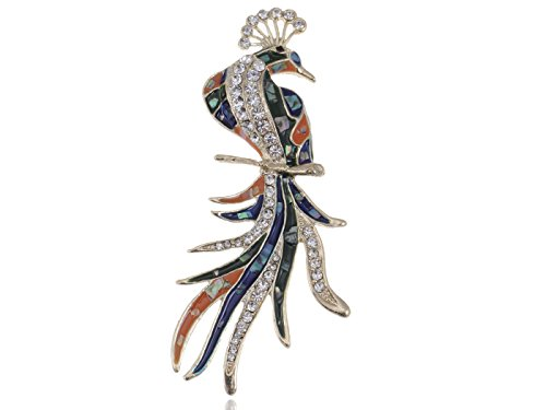 (Alilang Golden Tone Clear Crystal Colored Rhinestones Abalone Phoenix Bird Brooch Pin )