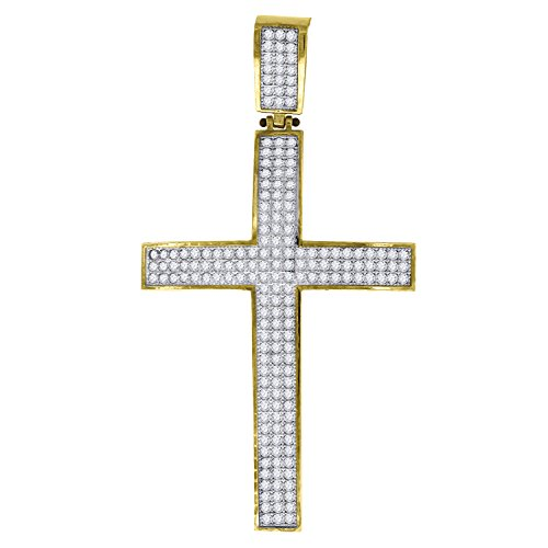 ellow and White Two tone CZ Cubic Zirconia Mens Cross (Ht:60mm x W:32mm) Religious Charm Pendant ()