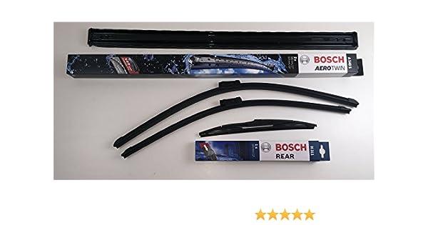 Bosch - Set de limpiaparabrisas izquierdo y derecho delanteros + trasero