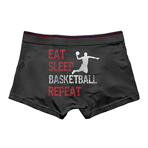 Men's Brief Boxer Briefs Low-Waisted Underpants Cotton Underwear Eat Sleep Basketball repeat Front Printed Knickers