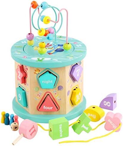 ソートキューブクラシック木製玩具(おもちゃの発達、簡単にグリップ形状、頑丈な木製の建設、12個)の形状 (色 : Multi-colored)