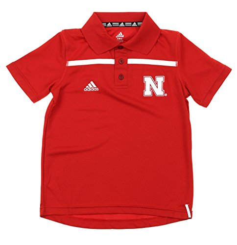 (adidas Nebraska Cornhuskers NCAA Youth Big Boys Short Sleeve Amped Coach Polo, Red (Red, Large (14-16)))