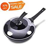 """KI 12""""(30cm) Wok/Stir-Fry Pan with Glass Lid, Coated with Ceramic&Natural Stone Nonstick Coating"""