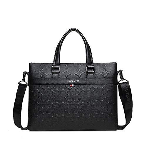 ZJYSM Casual Fashion Wild 019 New Men's Shoulder Bag Letter C Embossed Leather Bag Fashion Business Briefcase Crossbody Bag (Color : Black)