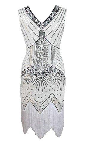 Flapper Sequin Été Des Femmes Omniscient Robe Vintage V Cou Cocktail De Robes De Soirée Blanche