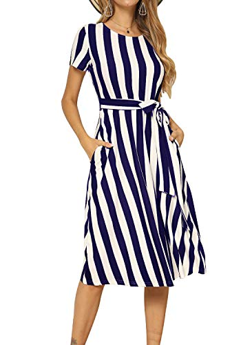levaca Womens Casual Elastic Waist Striped Tunic Beach Belt Midi Dress Deep Blue M