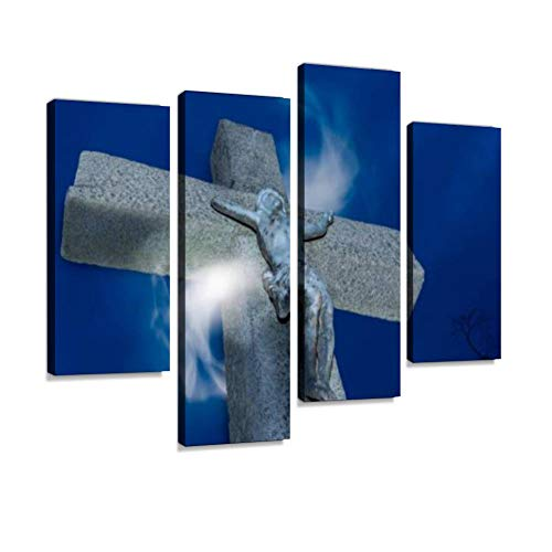 IGOONE 4 Panels Canvas Paintings - Crucifix with Magical Light - Wall Art Modern Posters Framed Ready to Hang for Home Wall Decor