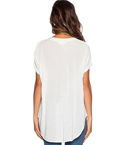 Blusas de Vestir Manga Corta Cuello en V Blusa Gasa Fiesta Camisas Mujer Camisetas Largas Elegantes Dama Bonitas Blusas Top para Señoras Blusones Anchas Camiseta Casual Color Puro Blanco