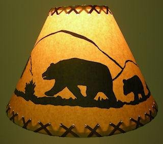 14 Inch Bear Rustic Lamp Shade.....Click on Photos to View S
