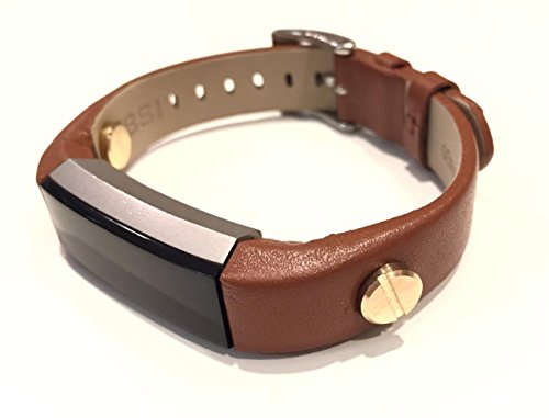 Elegant Brown Leather Bracelet for Fitbit Alta and Alta HR with Gold Metal Screw Rivets ()