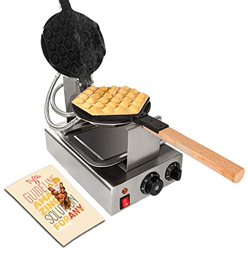 TOP Version Puffle Waffle Maker Professional Rotated Nonstick (Grill/Oven for Cooking Puff, Hong Kong Style, Egg, QQ, Muffin, Cake Eggettes and Belgian Bubble Waffles) (110V MANUAL)