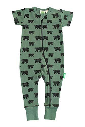 Parade Organics Signature Print '2-Way' Zip Romper - Short Sleeve Black Bears 6-12 Months ()