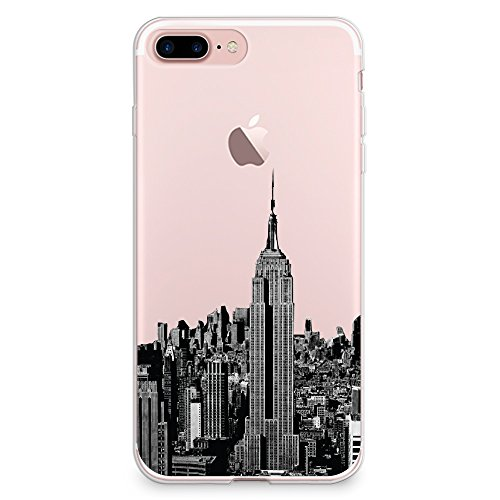 CasesByLorraine iPhone 8 Plus Case, iPhone 7 Plus Case, New York City View Clear Transparent Case NYC Flexible TPU Soft Gel Protective Cover for Apple iPhone 7 Plus & iPhone 8 Plus (A16) (New York Iphone)