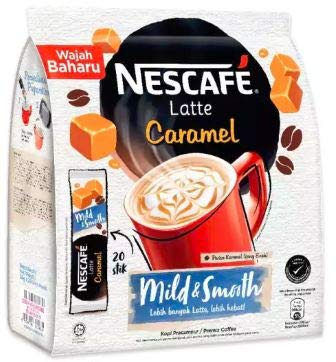 (Malaysia Nestle NESCAFE Latte Caramel/Deliciously Smooth, Milky, Frothy With Caramelicious Taste (20s x 25g))
