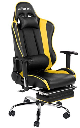 Merax Ergonomic Office Chair Big and Tall Executive Chair Racing Office Chair, Reclining Chair with footrest (Yellow)