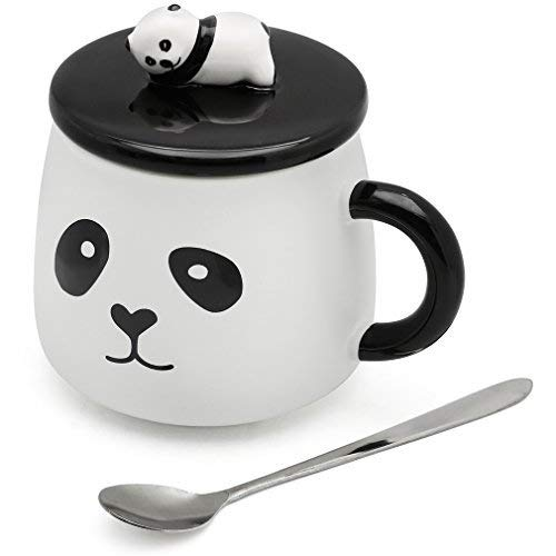 EPFamily Cute White 3D Panda Mug Funny Porcelain Coffee Mugs Set Small Ceramic Tea Cups Black with Lid and Spoon Gifts for Women Men Mom Grandma 14 Oz-C by EPFamily (Image #6)