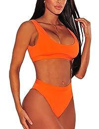 ESONLAR Women Round Neck Cropped Top High Waist Cut 2PCS Bikini Set Swimsuit