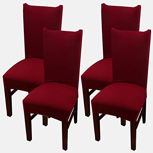 Set 4 Chairs Red (MUM CARE Dining Chair Slipcover,Classic Stretch Short Removable Dining Room Chair Covers Fit Parson or Club Chair Slipcover Set of 4 Wine red)