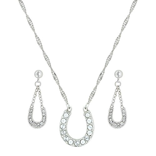 - Montana Silversmiths Crystal Clear Lucky Horseshoe Jewelry Set