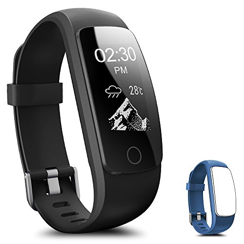 Fitness Tracker, Coffea H7-HR Activity Tracker : Heart Rate Monitor Wireless Bluetooth Smart Wristband Bracelet, Waterproof Fitness Watch with Replacement Band for Android & IOS (Black+Blue Band)