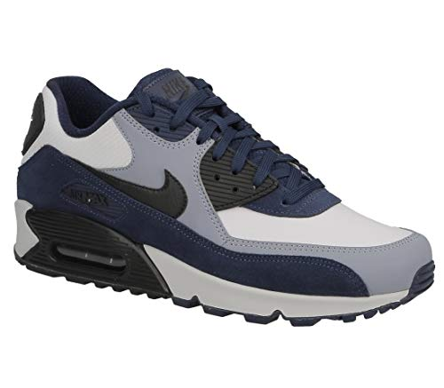 Nike Mens Air Max 90 Leather Running Shoes Blue Void/Black/Ashen Slate 302519-400 Size 13