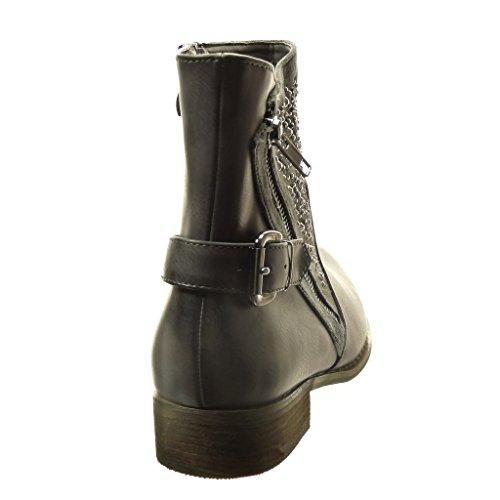 Angkorly - Chaussure Mode Bottine motard femme strass diamant boucle fermeture zip Talon bloc 3 CM - Intérieur Fourrée - Gris