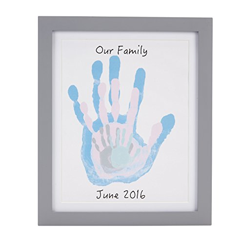 Pearhead DIY Family Handprint Frame and Paint Kit, Family Crafts, Baby Shower Must Have, Gray ()