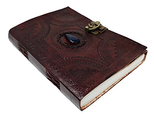 (Large Leather Journal Celtic book of shadows blue stone blank refillable personal Diary with lock gift for writers)