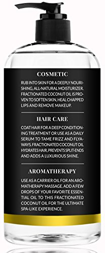 ArtNaturals Premium Fractionated Coconut Oil – (16 Fl Oz / 473ml) – 100% Natural & Pure – Therapeutic Grade Carrier and Massage Oil – for Hair and Skin or Diluting Aromatherapy Essential Oils