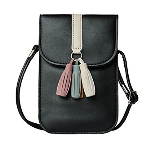 YaJaMa Bag Purse Cellphone Pouch Leather Black Tassel Shoulder Crossbody Mini 1T1rHqf