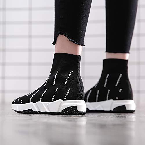 Socks Shoes Elastic XINGMU Black Style Style Fashion Knitted High 4EIEwxSn7q
