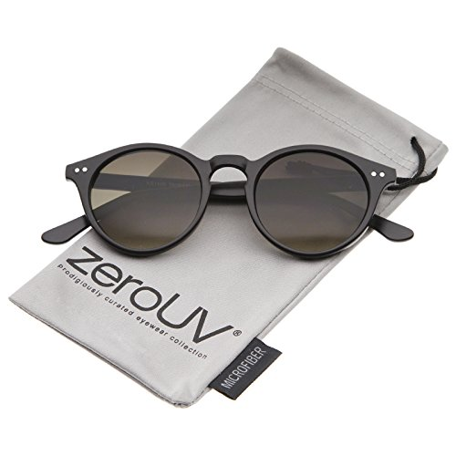 zeroUV - Classic Horn Rimmed Keyhole Nose Bridge P3 Round Sunglasses 46mm (Matte Black / Smoke - Keyhole Sunglasses