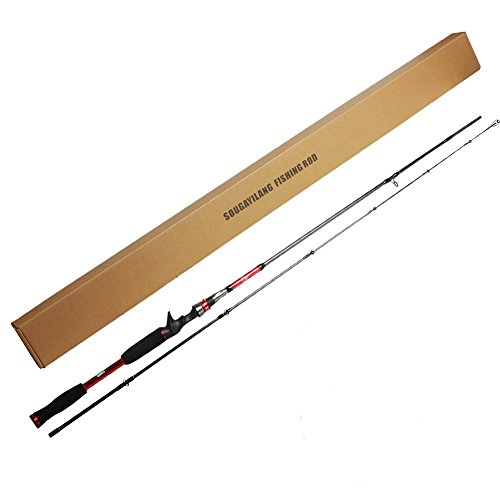 Sougayilang 2-Piece 6'10'' Casting Rod Graphite Portable Ultralight Baitcast Fishing Rods Pole Medium Heavy Power Fast Action for Freshwater Saltwater Inshore Bass Lure Fishing (Red, 6' 10'')