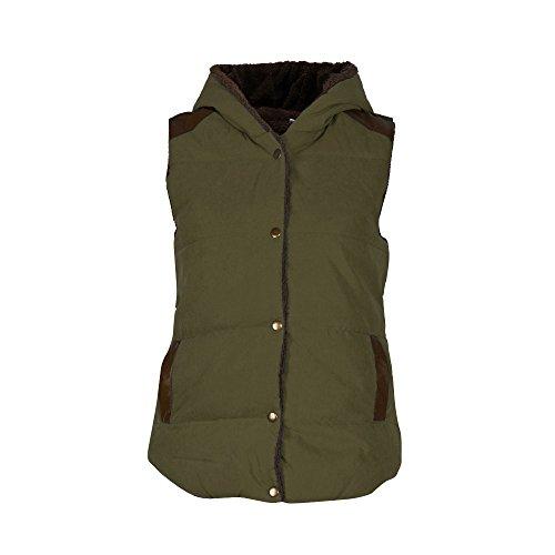 Ularma Abrigos de la mujer, Slim con capucha chaleco abrigo sin mangas chaqueta Verde