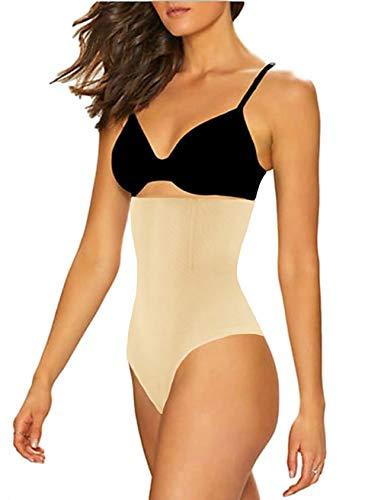 SAYFUT Women's Hi-waist Tummy Control Thong Panties Body Shaper Waist Trainer Nude#1 US 16-18/Waist 34.5