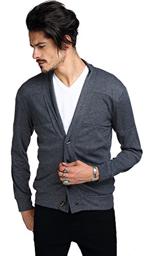 Whatlees Mens Work Out Solid V Neck Button Down Sweatshirt Coat B195-Grey-S