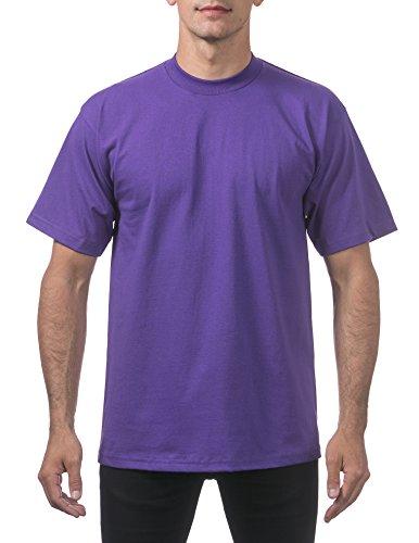 Pro Club Men's Heavyweight Cotton Short Sleeve Crew Neck T-Shirt, X-Large, Purple