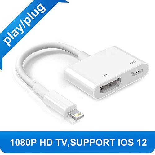 with iPhone X 8 7 6 5 iPad iPod HDMI Adapter Converter, Digital AV Adapter, 2018 Latest Plug and Play 1080P Audio AV Connector ()