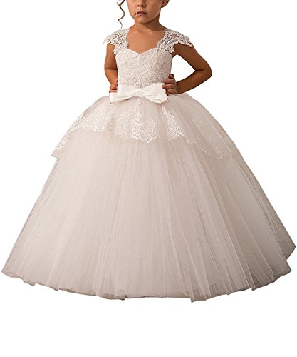 Elegant Lace Appliques Cap Sleeves Tulle Flower Girl Dress 1-14 Years Old All Ivory Size 4