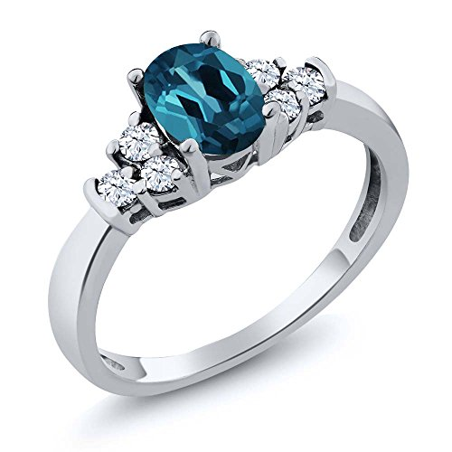 London Blue Topaz and White Topaz Gemstone Birthstone 925 Sterling Silver Womens Ring 0.79 Ct Oval (Available 5,6,7,8,9)