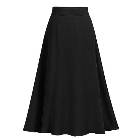 Finebo - Falda para mujer, de muselina, informal, de cintura alta ...