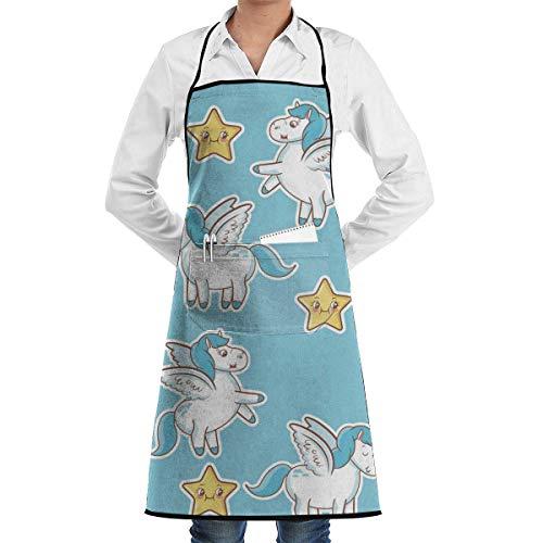CANCAKA Unicorn Stars Decoration Magic Animal Wallpaper Professional Bib Apron- Durable, String Adjustable, Machine Washable, Comfortable and Easy Care Aprons ()