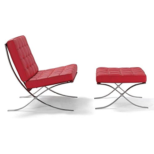ArtisDecor Premium Lounge Chair and Ottoman Made with Top Grain Italian Leather - Red (Leather Italian Beds)