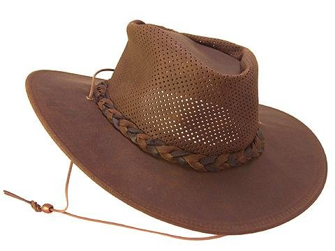 (Minnetonka Men's Leather Outback Hat Dk Brown Large)