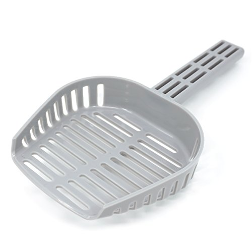 SCOOP EASE New Cat Litter Scoop. Extremely Durable. Engineered for Fast Sifting in Round or Square Trays. (Grey)