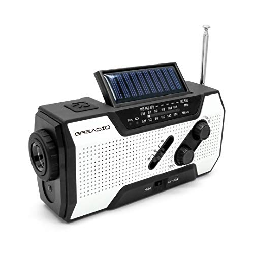 Emergency Weather Solar Crank AM/FM NOAA Radio with Portable 2000mAh Power Bank, Bright Flashlight and Reading Lamp for Household Emergency and Outdoor Survival (Usb Hand Radio Crank)