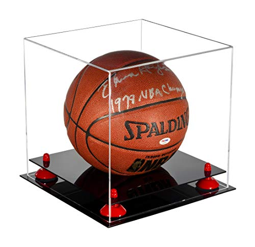 Better Display Cases Deluxe Clear Acrylic Basketball Display Case with Red Risers (A001-RR) by Better Display Cases
