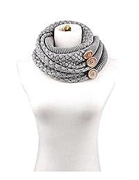 YACUN Winter Twist Knit Warm Infinity Circle Scarf - Diff Colors Grey F